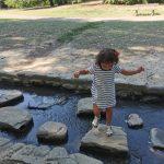 bimba salta sui sassi di un ruscello
