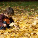 bimba che raccoglie le foglie